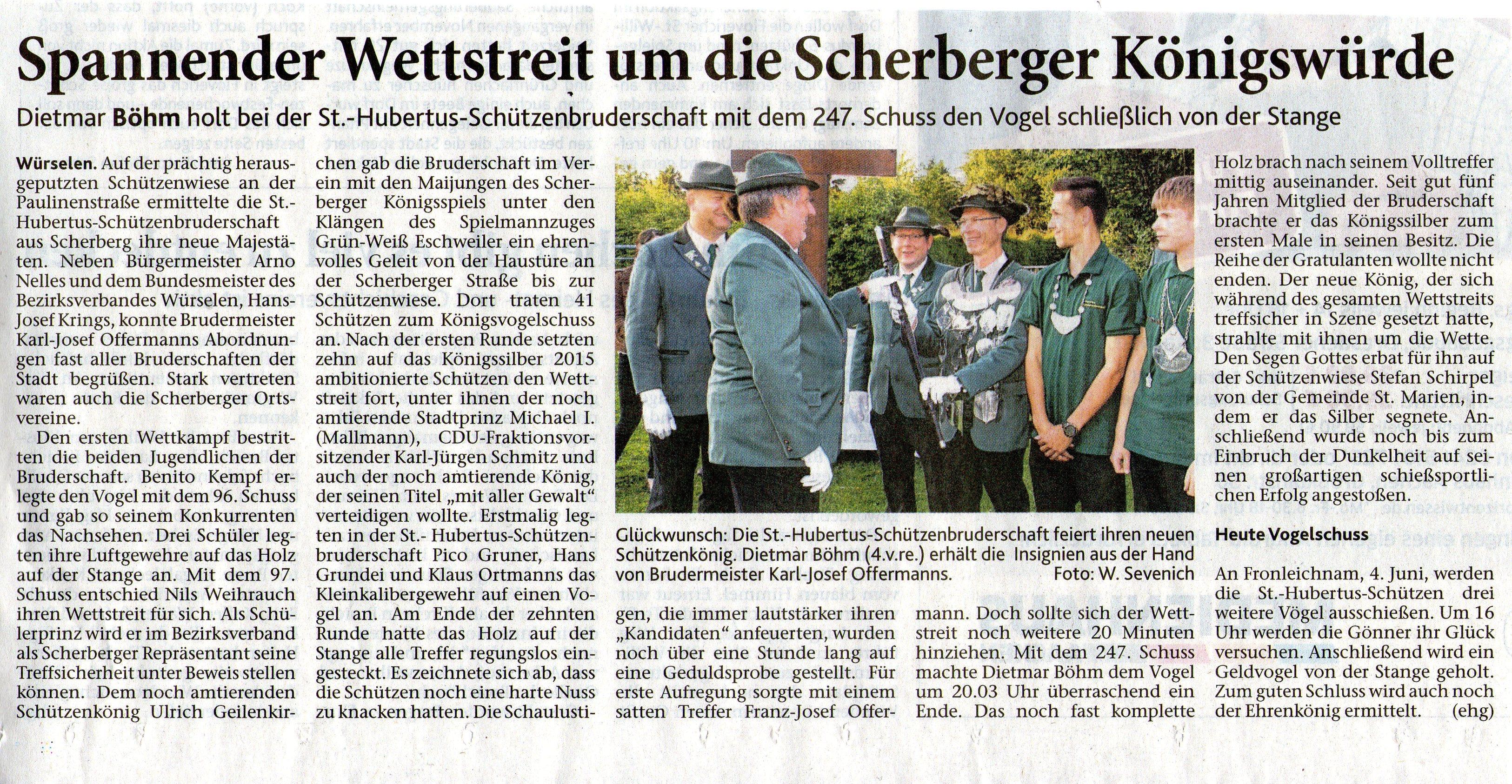 Zeitungsbericht über Schützenkönig 2015 Dietmar Böhm